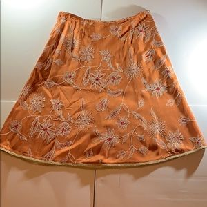 Talbots Orange and White Silk Floral Skirt A1